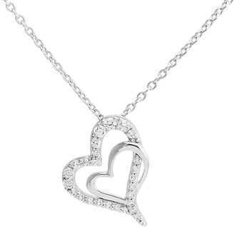 Hallmark Sterling Silver Cubic Zirconia Double Heart Pendant Necklace