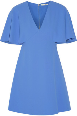Alice + Olivia Alice Olivia - Krysta Cape-back Crepe Mini Dress - Azure $305 thestylecure.com