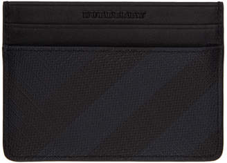 Burberry Navy and Black London Check Card Holder