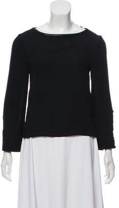 Alice + Olivia Leather-Trimmed Silk Blouse