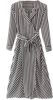 Goodnight Macaroon 'Parker' Shirt Style Striped Maxi Dress