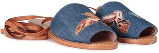 RED Valentino Hummingbirds Embroidered Denim Lace-up Sandal