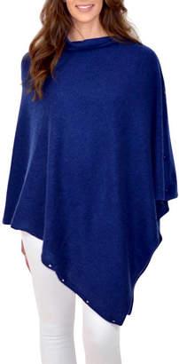 733b48e50 Thomas Laboratories Mimi & cashmere & leather Navy Personalised Pure  Cashmere Wrap Button Poncho
