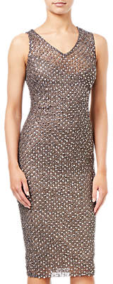 Adrianna Papell Short Beaded Dress, Lead