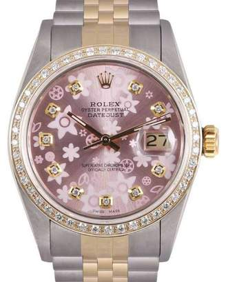Rolex Datejust 18K Yellow Gold and Stainless Steel Pink Floral Motif Diamond Dial 36mm Watch