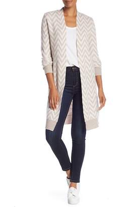 Magaschoni M BY Chevron Long Sleeve Cashmere Cardigan