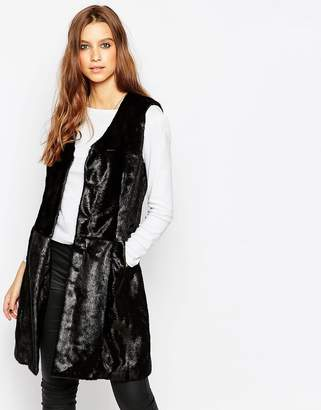 Urban Code Urbancode Faux Fur Vest with Tonal Patchwork