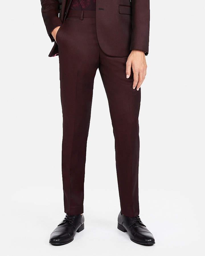 Express Slim Burgundy Luxury 100% Wool Suit Pant