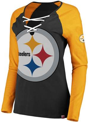 Majestic Women's Pittsburgh Steelers The Lace Up Tee
