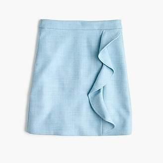 J.Crew Ruffle mini skirt in double-serge wool