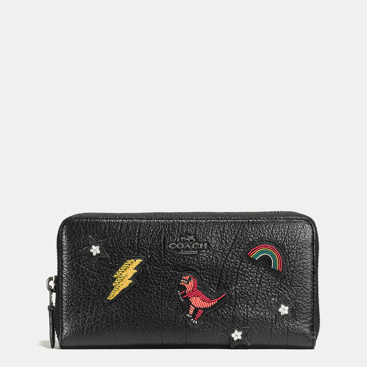 Coach   COACH Coach Accordion Zip Wallet In Grain Leather With Souvenir Embroidery