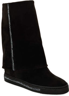 Rene Caovilla Crystal-Embellished Hidden Wedge Boots