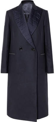 Golden Goose Cristal Quilted Satin-trimmed Wool-blend Coat - Navy
