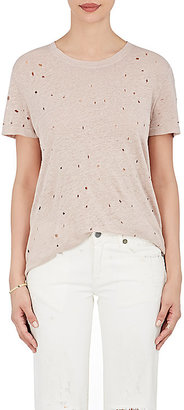 IRO Women's Distressed Linen T-Shirt $145 thestylecure.com