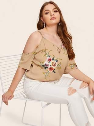 Shein Plus Floral Print Open Shoulder Blouse