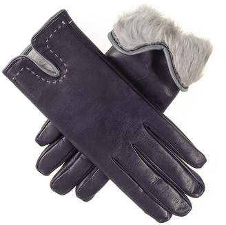 Black Navy and Grey Rabbit Fur Lined Leather Gloves