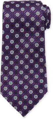 Ermenegildo Zegna Woven Medallions Silk Tie, Purple