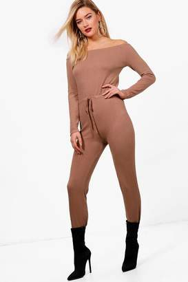 boohoo Jade Soft Knit Bardot Jumpsuit