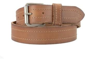 Montauk Leather Club 1-1/2 in. US Steer Hide Leather Double Stitch Men's Belt w/ Antq.Nickel Roller Buckle