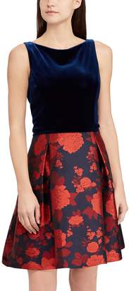 Chaps Women's Floral Velvet Fit & Flare Dress