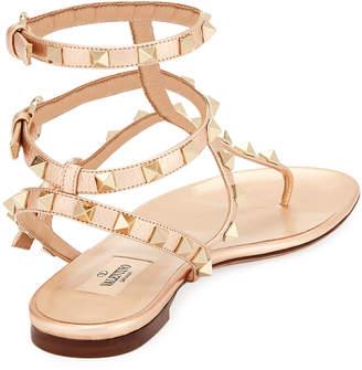 Valentino Rockstud Leather Thong Sandals