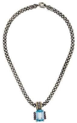 Lagos Topaz & Iolite Caviar Pendant Necklace