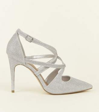 New Look Wide Fit Silver Glitter Strappy Pointed Wedding Courts