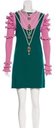 Gucci 2016 Embellished Wool Dress