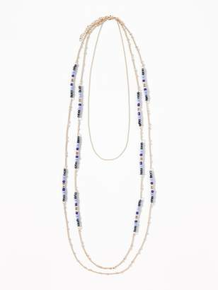Old Navy Long Multi-Beaded Chain Necklace for Women