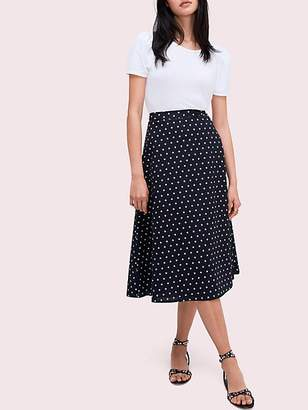Kate Spade Dot Cotton Midi Skirt, Black/French Cream - Size 0