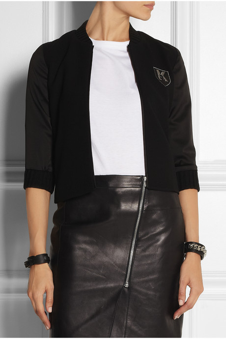 Karl Lagerfeld Belen twill and satin varsity jacket
