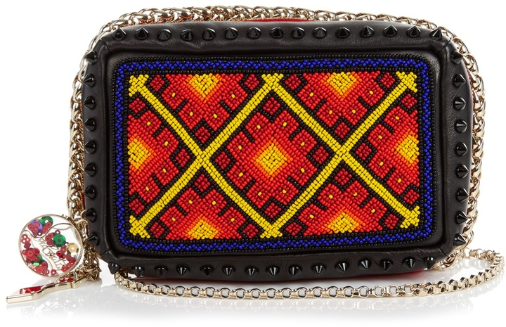 Christian Louboutin CHRISTIAN LOUBOUTIN Piloutin bead-embellished leather clutch