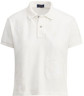 Polo Ralph Lauren Patchwork Cropped Mesh Polo $145 thestylecure.com