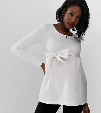Mama Licious Mama.Licious Mamalicious maternity mixed cotton tie waist top