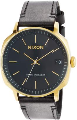 Nixon 42mm Regent II Leather Watch, Black