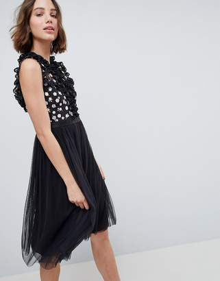 Needle & Thread High Neck Midi Dress With Cut Out Detail