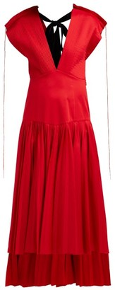 KHAITE Theodora Pleated Cotton Poplin Midi Dress - Womens - Red