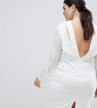 John Zack Plus Open Back Bodycon Dress With Split Sleeve Detail