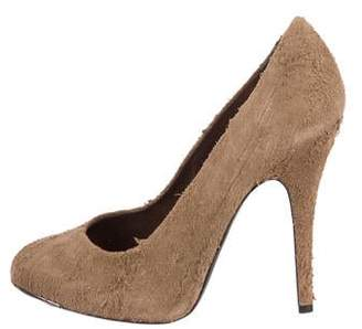 Devi Kroell Distressed Suede Round-Toe Pumps