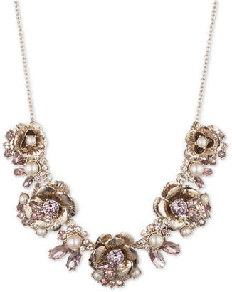 """Marchesa Gold-Tone Crystal & Imitation Pearl Flower Statement Necklace, 16"""" + 3"""" extender"""