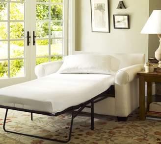 Pottery Barn Buchanan Roll Arm Upholstered Twin Sleeper Sofa with Memory Foam Mattress