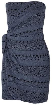 Free People Ocean Side Blue Crochet Mini Dress