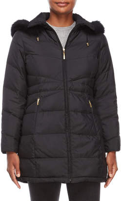Ellen Tracy Petite Hooded Down Coat with Real Fur Trim
