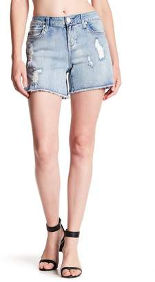 Seven7 Slide Slit Raw Edge Girlfriend Shorts