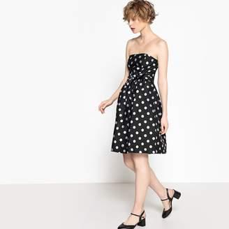 MADEMOISELLE R Jacquard Polka Dot Strapless Dress with Tie Waist