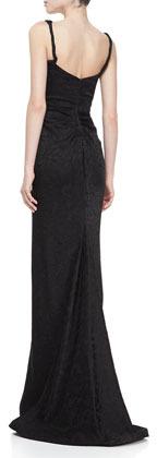 Zac Posen Embroidered Sweetheart Sleeveless Gown, Black