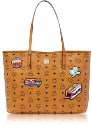 MCM Anya Victory Patch Visetos Cognac Top Zip Medium Tote Bag