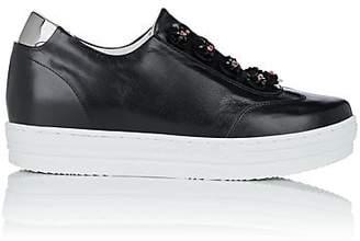 Helena & Kristie Women's Flower-Embellished Leather Slip-On Sneakers - Black