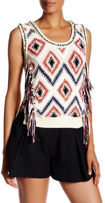 DEREK LAM 10 CROSBY Fringe Knit Sweater Tank $395 thestylecure.com