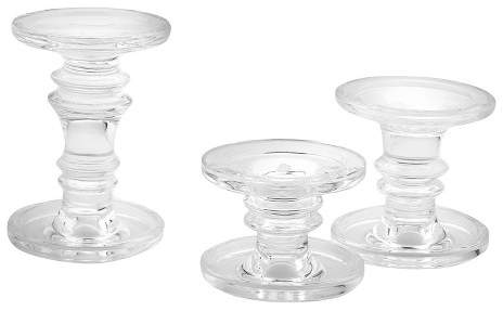Diamond Star 3pc Glass Pillar Candleholder Set - Diamond Star®